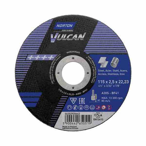 "Micro Cutting Discs - 115mm (4 1/2"") x 2.5mm - Norton Vulcan - JAR UK Industries"