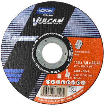 "Micro Cutting Discs - 115mm (4 1/2"") x 1mm - Norton Vulcan - JAR UK Industries"