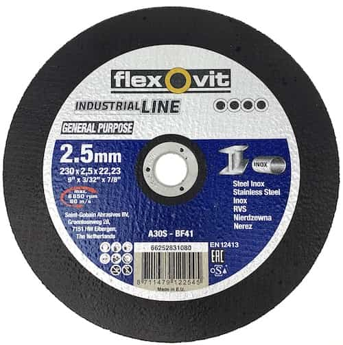 Metal Cutting Disc - 230mm x 2.5mm x 22mm - Flexovit Industrial Line - JAR UK Industries