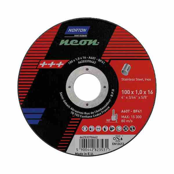 "Micro Cutting Discs - 100mm (4"") x 1mm - Norton Neon - JAR UK Industries"