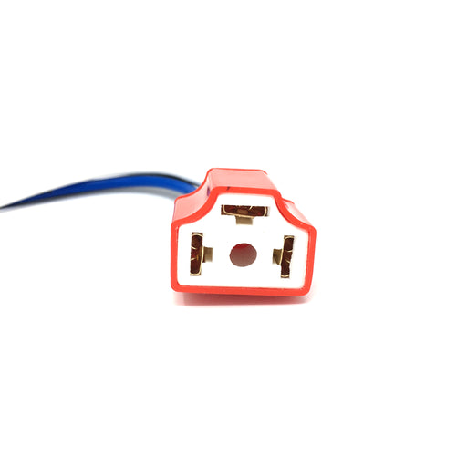 Ceramic H4 Bulb Holder / Socket with Straight Exit Cables - JAR UK Industries