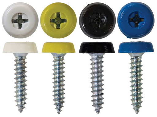 Number Plate Fasteners - 4.8 x 24mm - Long Self-Tappers with Plastic Head (Choose Colour)