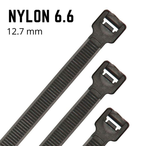 Black Nylon Cable Ties - 12.7mm Wide - Choose Length (Pack 100)