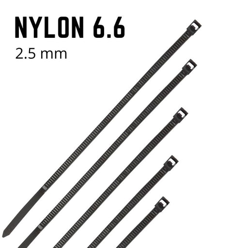 Black Nylon Cable Ties - 2.5mm Wide - Choose Length (Pack 100)
