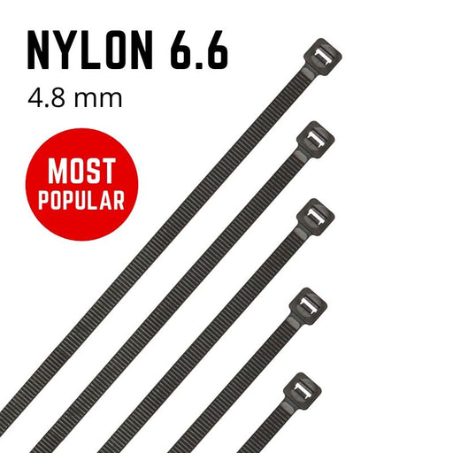 Black Nylon Cable Ties - 4.8mm Wide - Choose Length (Pack 100)
