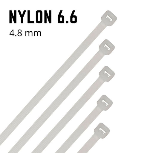 Natural Nylon Cable Ties - 4.8mm Wide - Choose Length (Pack 100)
