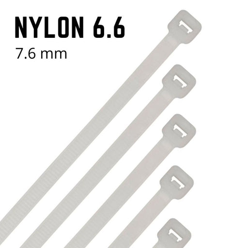 Natural Nylon Cable Ties - 7.6mm Wide - Choose Length (Pack 100)