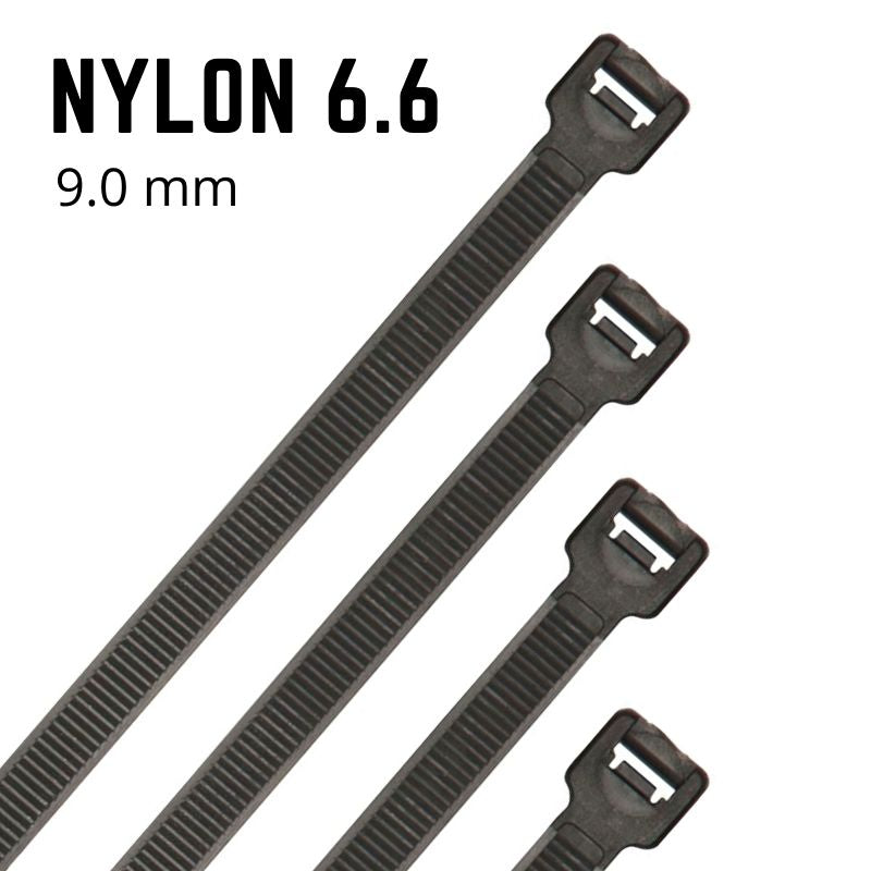 Black Nylon Cable Ties - 9mm Wide - Choose Length (Pack 100)