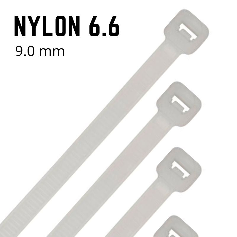 Natural Nylon Cable Ties - 9mm Wide - Choose Length (Pack 100)