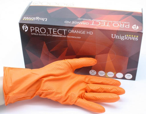 PRO.TECT HD Diamond Grip Orange Nitrile Gloves - Powder Free (Choose Size)