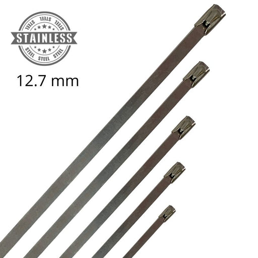 316 Stainless Steel Cable Ties - 12.7mm Wide (Pack 25 or 100)