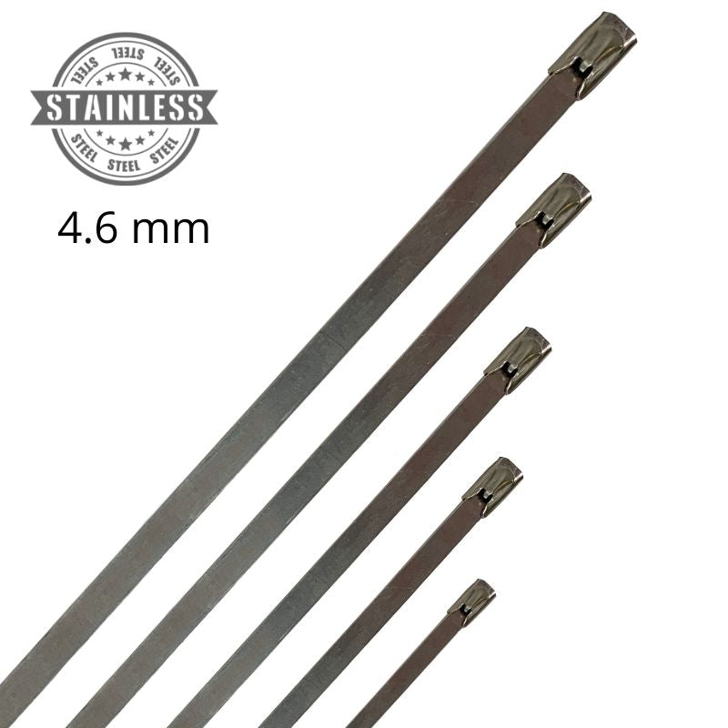 316 Stainless Steel Cable Ties - 4.6mm Wide - (Pack 25 or 100)