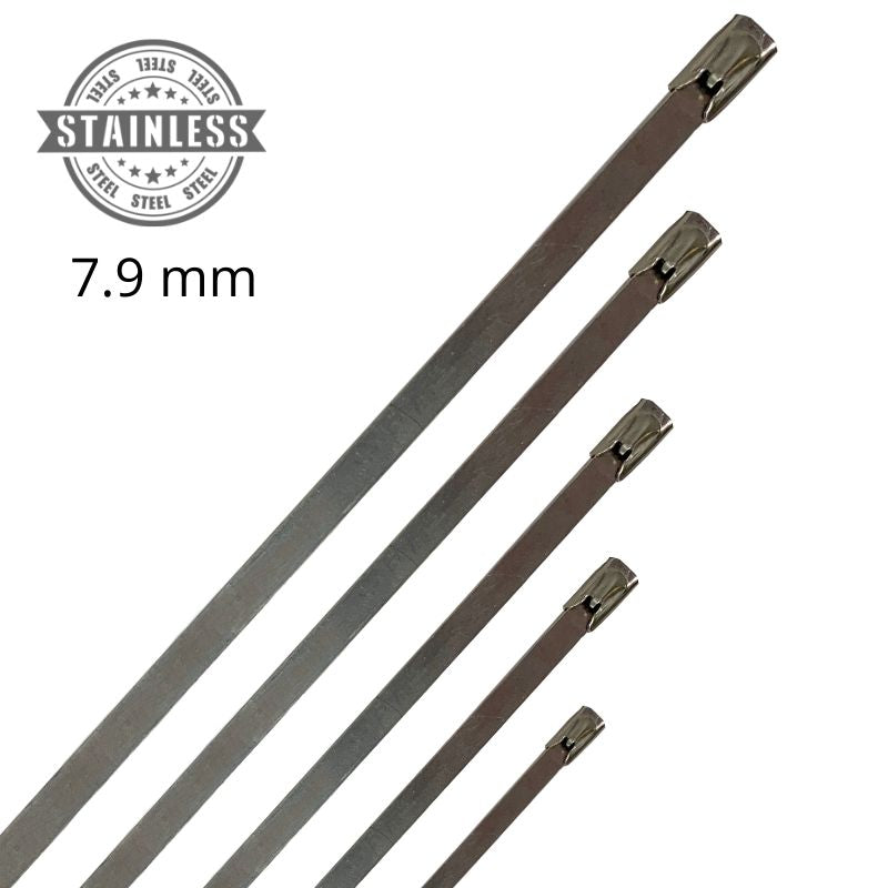 316 Stainless Steel Cable Ties - 7.9mm Wide - (Pack 25 or 100)