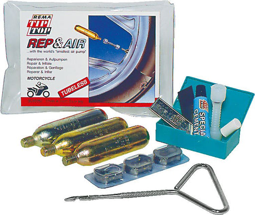 REMA TIP TOP Motorcycle Tyre Repair & Inflate Kit - 'Rep & Air' Tubeless - JAR UK Industries