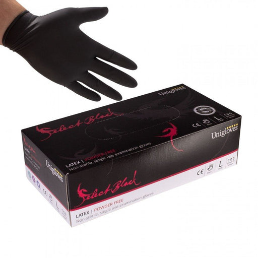 Select Black Powder Free Latex Gloves - Unigloves (Choose Size)