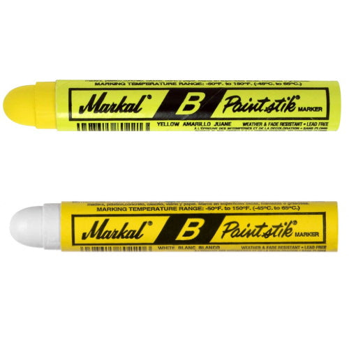 MARKAL 'B Paintstik' Markers - White or Yellow (12 Pack) - JAR UK Industries