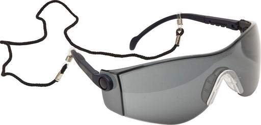 Lightweight Wraparound Safety Spectacles with Safety Cord - Clear or Smoke Lens