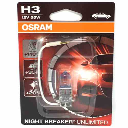|X| - OSRAM Nightbreaker Unlimited 12v, H3, 55w Fish tail fitting - 453 - Twin Pack - JAR UK Industries
