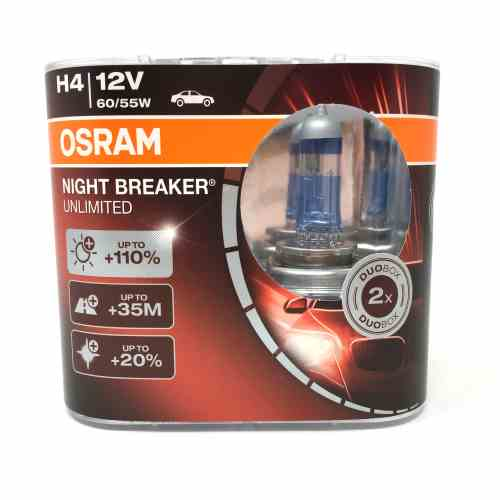 |X| - OSRAM Nightbreaker Unlimited 12v, H4, 60/55w Triple spade fitting - 472 - Twin Pack - JAR UK Industries