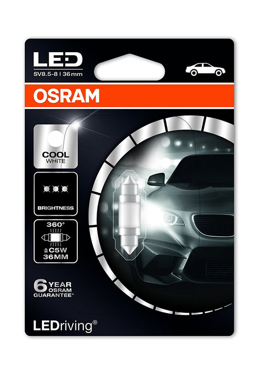|X| - OSRAM 239 LED Premium Retrofit SV8.5-8 36mm, C5W, interior lights, 6498CW-01B, Cool White, 12V, single blister (1 piece) - JAR UK Industries