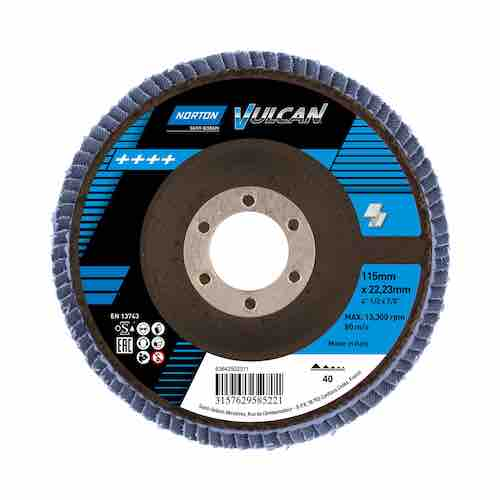 "Flap Discs Zirconium - 115mm (4 1/2"") - 40g - Norton Vulcan (Industrial Use) - JAR UK Industries"