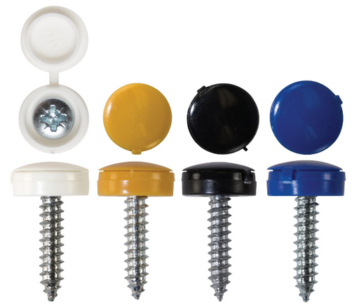 Number Plate Fasteners - 4.2 x 19mm - Self-Tappers with Hinged Caps (Choose Colour)