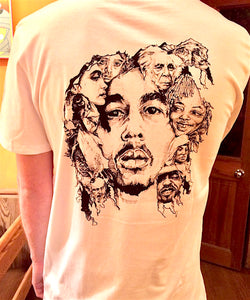 Bob Marley Illustration on white t-shirt