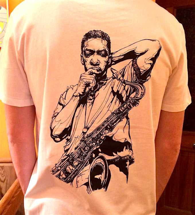 John Coltrane illustration on white t-shirt