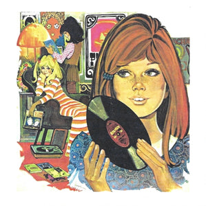 Girl With Record Greeting Card