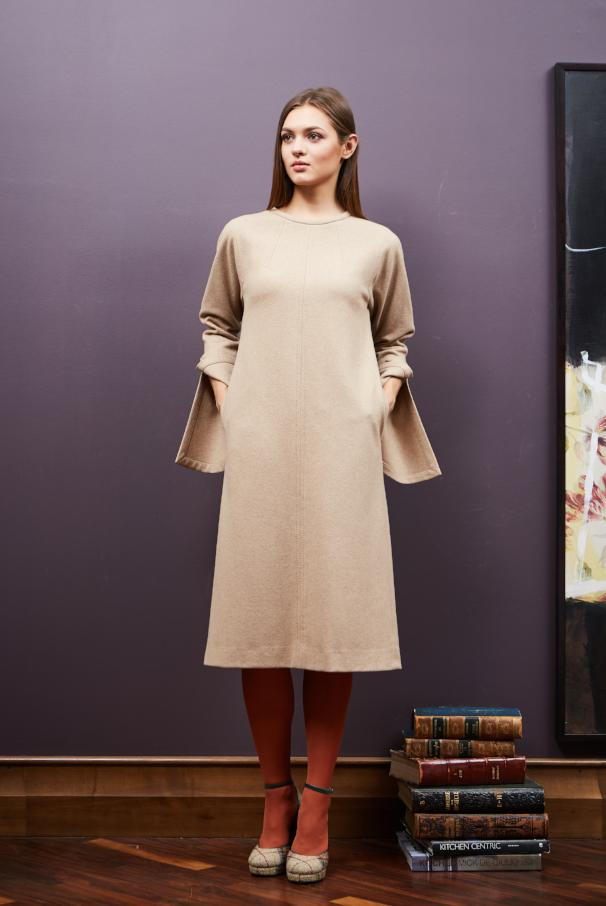 Wool Dress with Unfastening Cuff