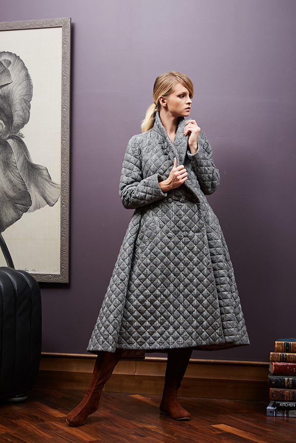 Quilted Wool Swing Coat