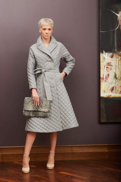 Quilted wool coat