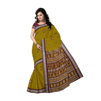 Bomkai design cotton saree with Olive body and Maroon border along with Blouse piece