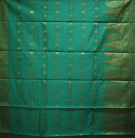 Light Green With Golden Handloom Temple Design Banaras cotton Silk Saree of Uttar Pradesh AJODI001578