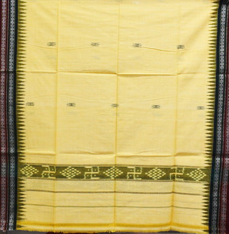 Yellow With Green Color Combination Of Handloom Temple Design Towel Of Sambalpur, Odisha AJODI001739