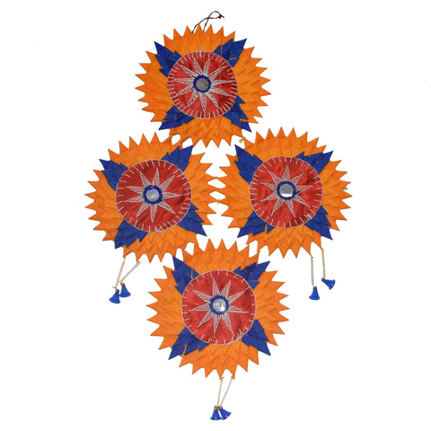 Handmade Applique Cotton Star Sunflower from Home Decor Pipili Odisha AJODI002173