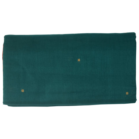 Deep Green With Deep Red Handloom Plain Green Buti Cotton saree Of Odisha AJODI001513