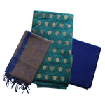 Green with Blue Indian Handloom Banarasi Cotton Silk Ladies Dress Material AJODI002224