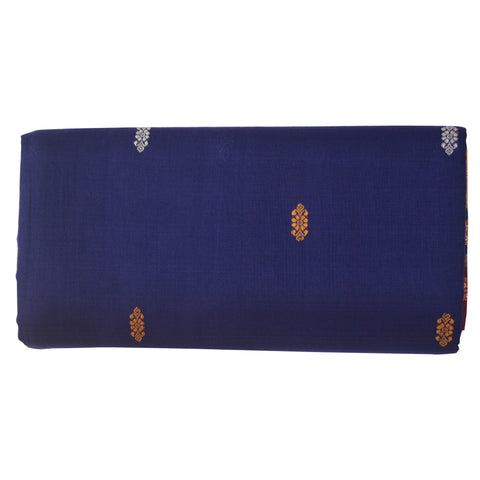 Navy Blue With Maroon Bomkai Design Sambalpuri Handloom Cotton Saree from Odisha AJODI002087