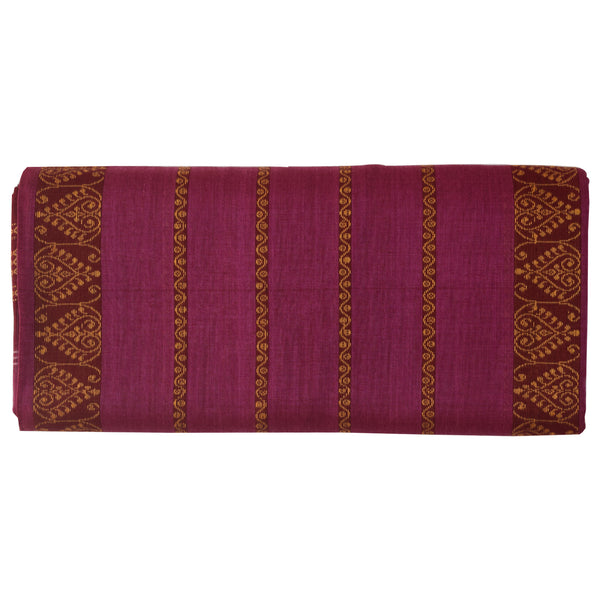 Magenta with Maroon Bomkai Design Sambalpuri Handloom Cotton Saree from Odisha AJODI002106