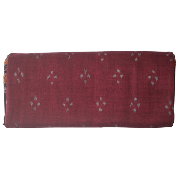 Buti Design Maroon Sambalpuri Handloom Ikat Cotton Saree of Odisha AJODI000282