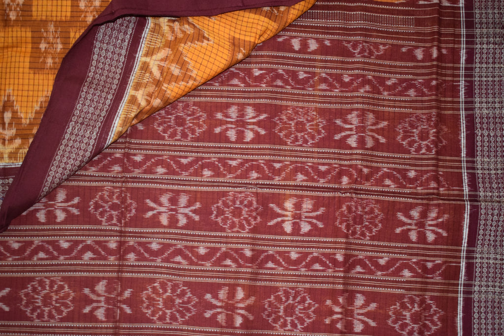Check Design Orange with Maroon Handloom Sambalpuri Cotton saree weaved in Sambalpur Odisha AJODI002103