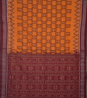 Check design sambalpuri cotton saree with orange body and maroon color border