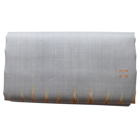 Temple design Light Grey Odisha Handloom Khandua Silk ikkat saree Nuapatna odisha (AJODI000005)