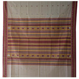 Buti Design Off White Natural Odisha Handloom Dongria Cotton saree of Odisha AJODI000011
