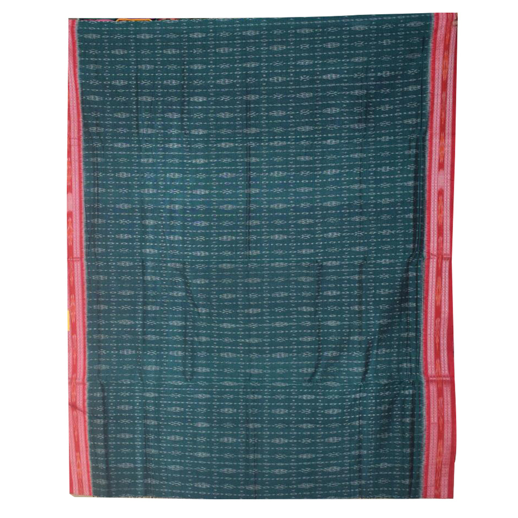 Flower design Green Sambalpuri Handloom Ikat Cotton saree of Odisha AJODI000021