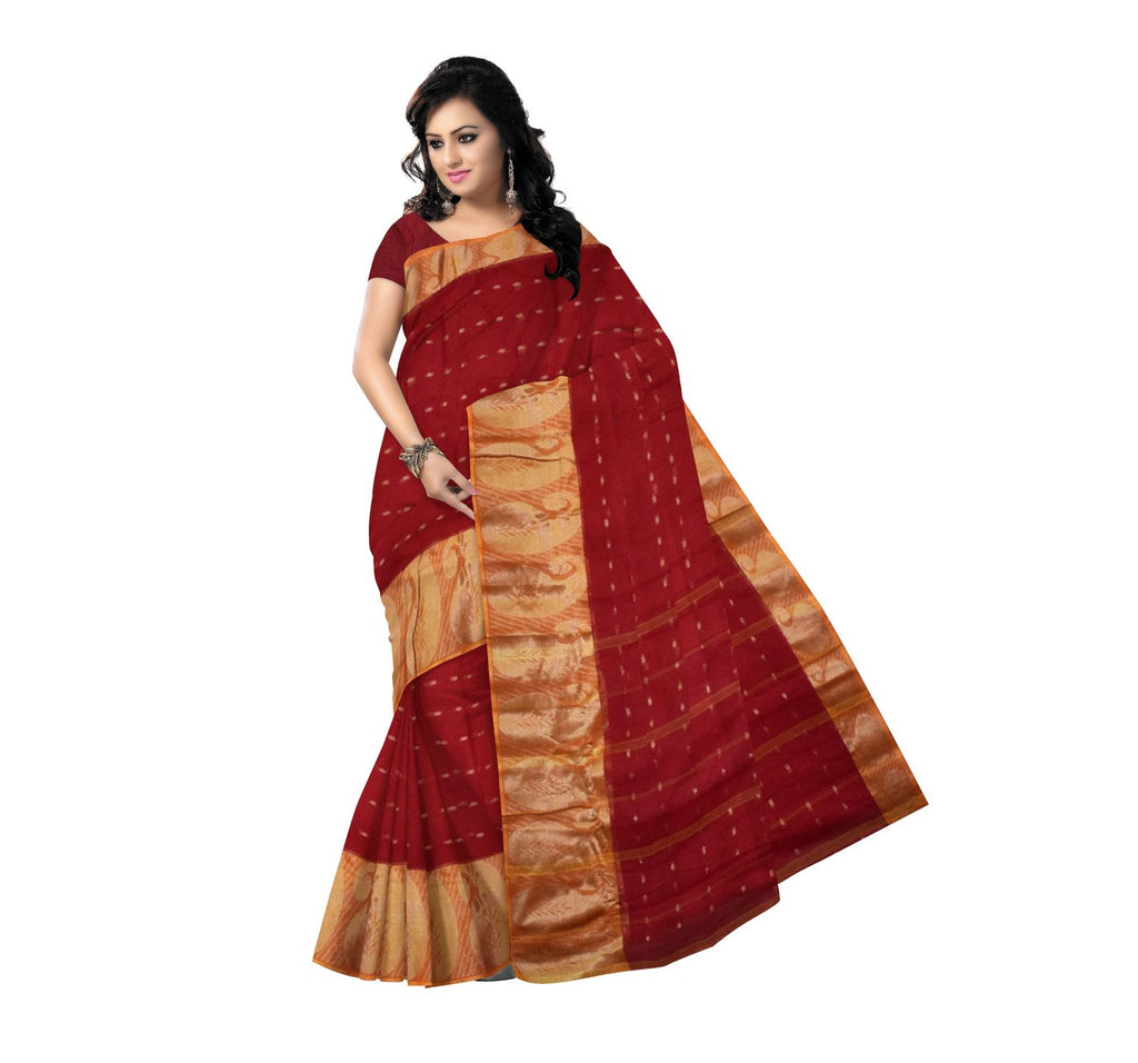 Bengali Handloom Cotton Saree with Red colour body and Golden Border