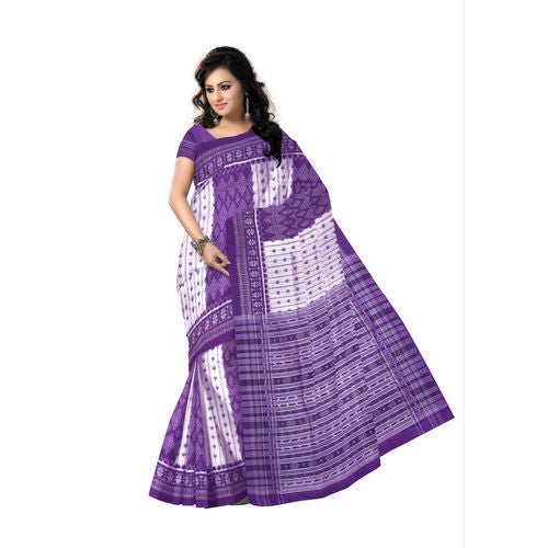 Sambalpuri handloom Cotton saree of purple grey body and provided with blouse piece