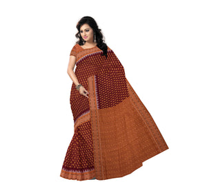STUNNING IKAT DESIGN HANDLOOM MAROON COTTON SAREE OF SAMBALPUR AJODI000066