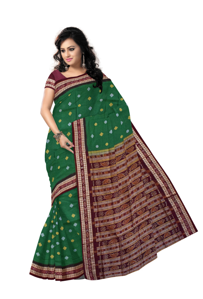 Sambalpuri Bomkai design cotton saree with Green body and maroon border along with Blouse Piece